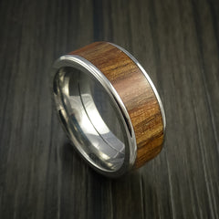 Wood Ring and Titanium Ring inlaid with APPLE WOOD Custom Made to Any Size and Optional Wood Types - Revolution Jewelry  - 1