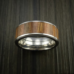 Wood Ring and Titanium Ring inlaid with APPLE WOOD Custom Made to Any Size and Optional Wood Types - Revolution Jewelry  - 2