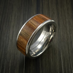 Wood Ring and Titanium Ring inlaid with APPLE WOOD Custom Made to Any Size and Optional Wood Types - Revolution Jewelry  - 3