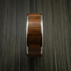 Wood Ring and Titanium Ring inlaid with APPLE WOOD Custom Made to Any Size and Optional Wood Types - Revolution Jewelry  - 4