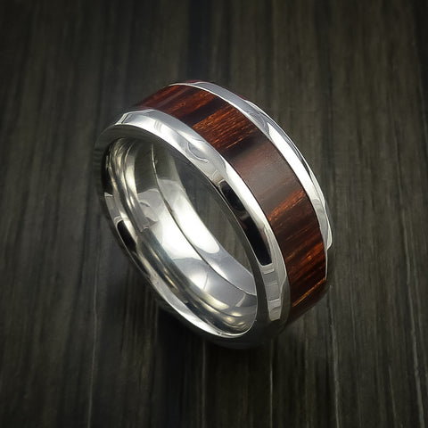 Cocobolo Wood Ring Inlaid in Cobalt Chrome Custom Made to Any Size and Optional Wood Types