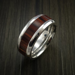 Cocobolo Wood Ring Inlaid in Cobalt Chrome Custom Made to Any Size and Optional Wood Types by Revolution Jewelry