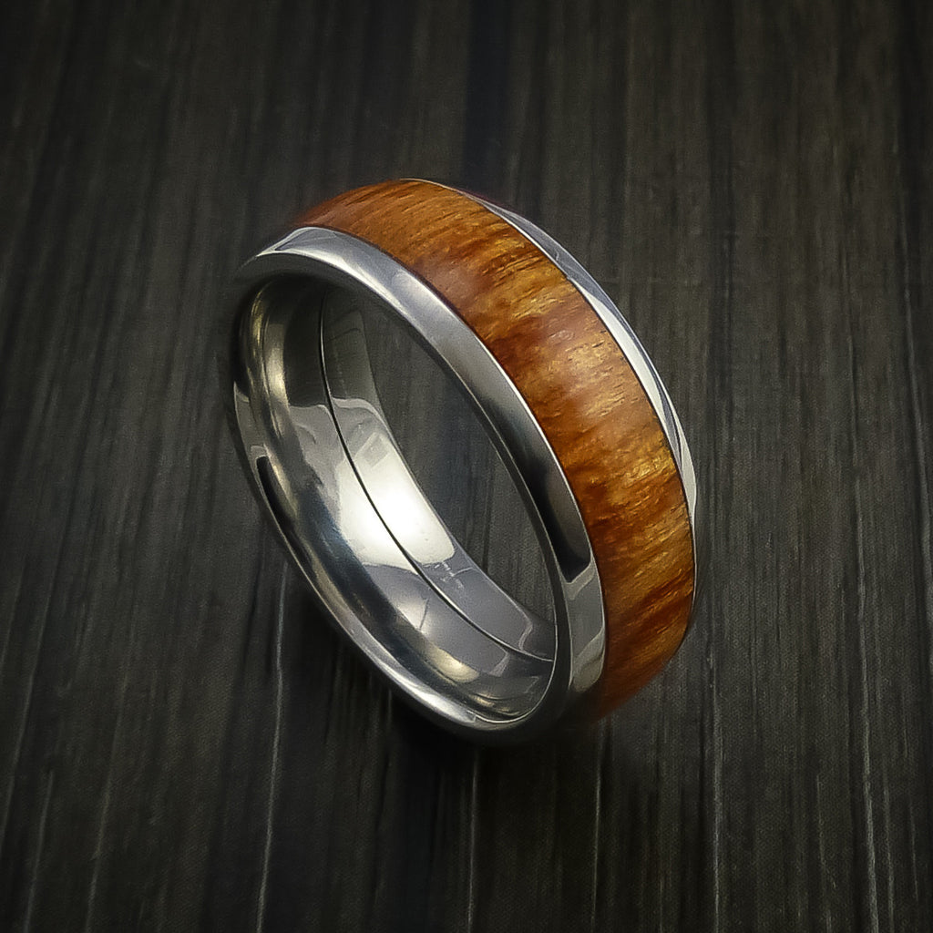 Wood Ring and Titanium Ring inlaid with FIJI ORANGE Wood Custom Made to Any Size and Optional Wood Types - Revolution Jewelry  - 1
