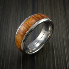 Wood Ring and Titanium Ring inlaid with FIJI ORANGE Wood Custom Made to Any Size and Optional Wood Types - Revolution Jewelry  - 3