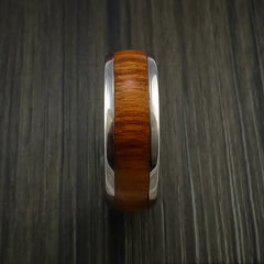 Wood Ring and Titanium Ring inlaid with FIJI ORANGE Wood Custom Made to Any Size and Optional Wood Types - Revolution Jewelry  - 4