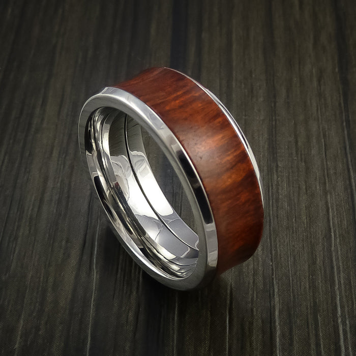Wood Ring and Cobalt Chrome Ring inlaid with COCOBOLO Wood Custom Made to Any Size and Optional Wood Types