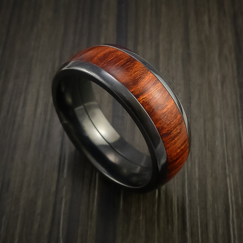Wood Ring and Black Zirconium Band inlaid with ROSEWOOD Custom Made to Any Size and Optional Wood Types