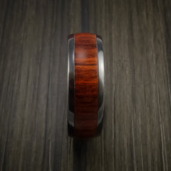 Wood Ring and Black Zirconium Band inlaid with ROSEWOOD Custom Made to Any Size and Optional Wood Types - Revolution Jewelry  - 4