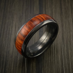 Wood Ring and Black Zirconium Band inlaid with ROSEWOOD Custom Made to Any Size and Optional Wood Types - Revolution Jewelry  - 3