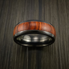 Wood Ring and Black Zirconium Band inlaid with ROSEWOOD Custom Made to Any Size and Optional Wood Types - Revolution Jewelry  - 2
