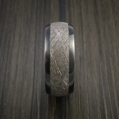 Gibeon Meteorite in Black Zirconium Wedding Band Made to any Sizing and Width - Revolution Jewelry  - 3