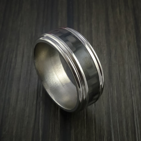Carbon Fiber Double Inlay and Titanium Ring Style Weave Pattern
