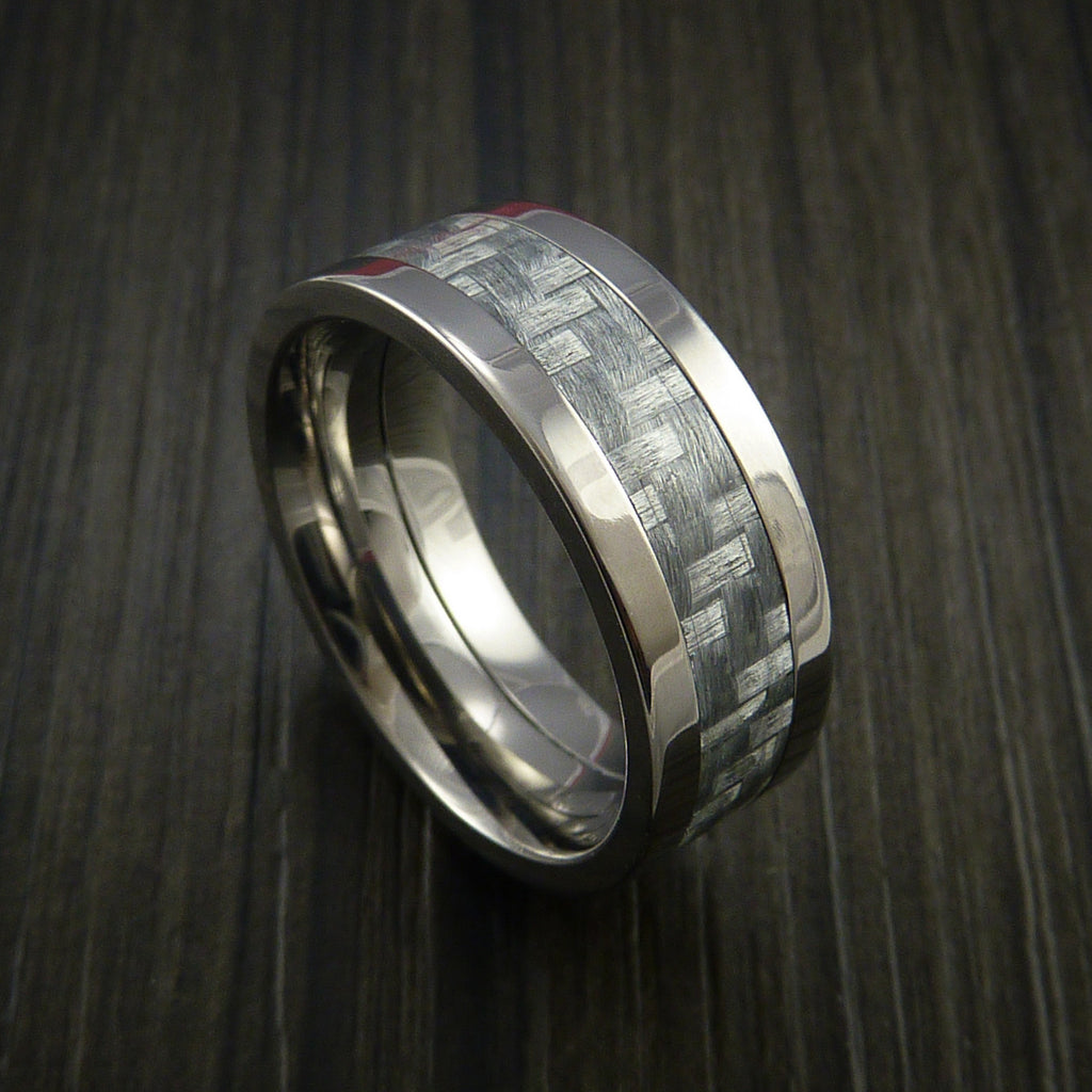 Titanium Ring with Silver Texalium Inlay with Carbon Fiber Style Weave Pattern - Revolution Jewelry  - 1