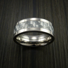 Titanium Ring with Silver Texalium Inlay with Carbon Fiber Style Weave Pattern - Revolution Jewelry  - 2