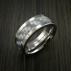 Titanium Ring with Silver Texalium Inlay with Carbon Fiber Style Weave Pattern - Revolution Jewelry  - 3