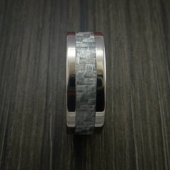 Titanium Ring with Silver Texalium Inlay with Carbon Fiber Style Weave Pattern - Revolution Jewelry  - 4
