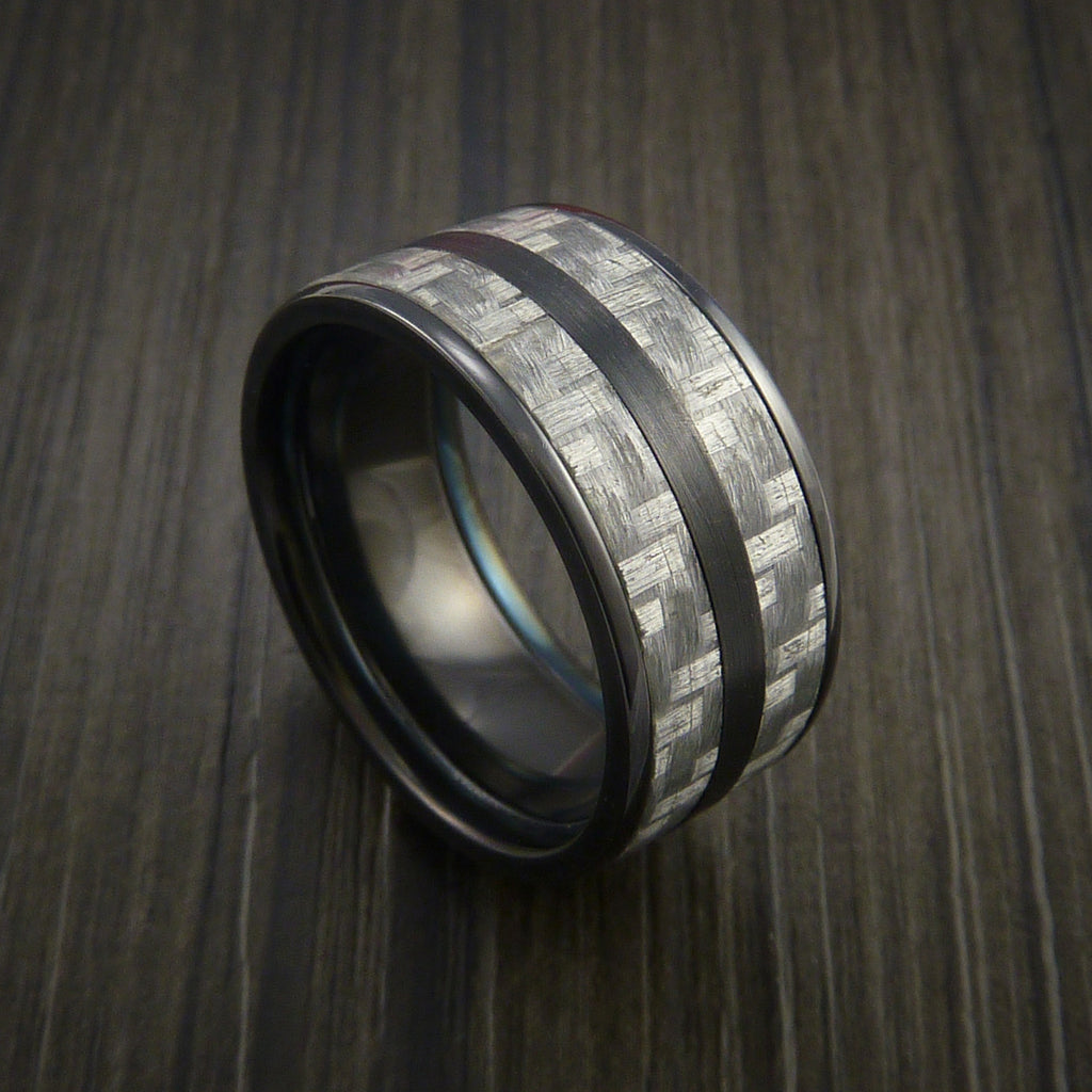 Black Zirconium Ring with Silver Texalium Inlay with Carbon Fiber Style Weave Pattern by Revolution Jewelry