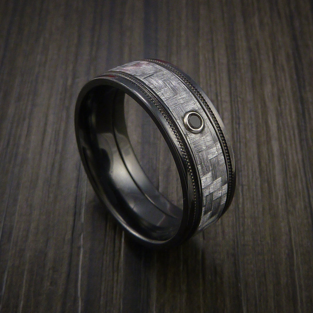 Texalium Carbon Fiber Ring with Black Diamond Custom Made with Black Zirconium Band