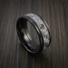 Texalium Carbon Fiber Ring with Black Diamond Custom Made with Black Zirconium Band - Revolution Jewelry  - 1
