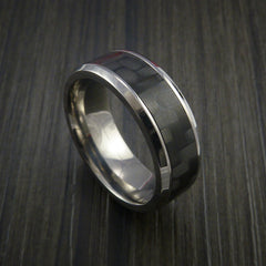 Carbon Fiber and Titanium Ring Style Weave Pattern by Revolution Jewelry