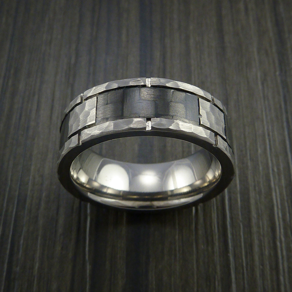 Carbon Fiber and Titanium Ring Style Hammer Finish Weave Pattern