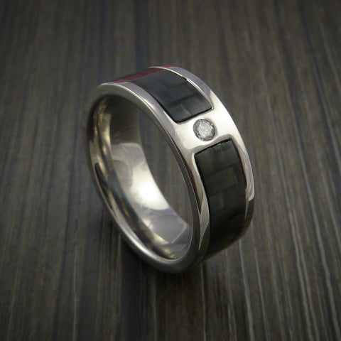 Carbon Fiber Ring with White Diamond Custom Made and Set in Titanium Band