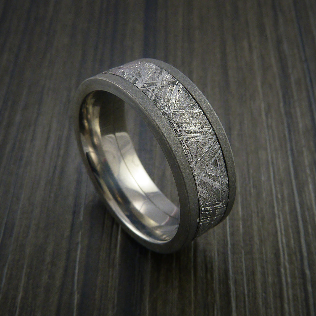 meteorite wedding ring gibeon meteorite in titanium wedding band made to any 5848