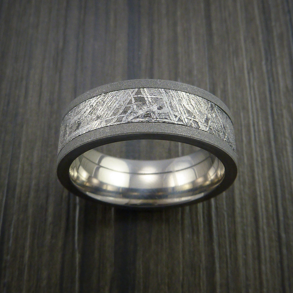 Gibeon Meteorite in Titanium Wedding Band