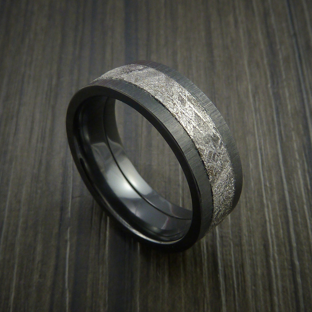 Gibeon Meteorite in Black Zirconium Wedding Band Made