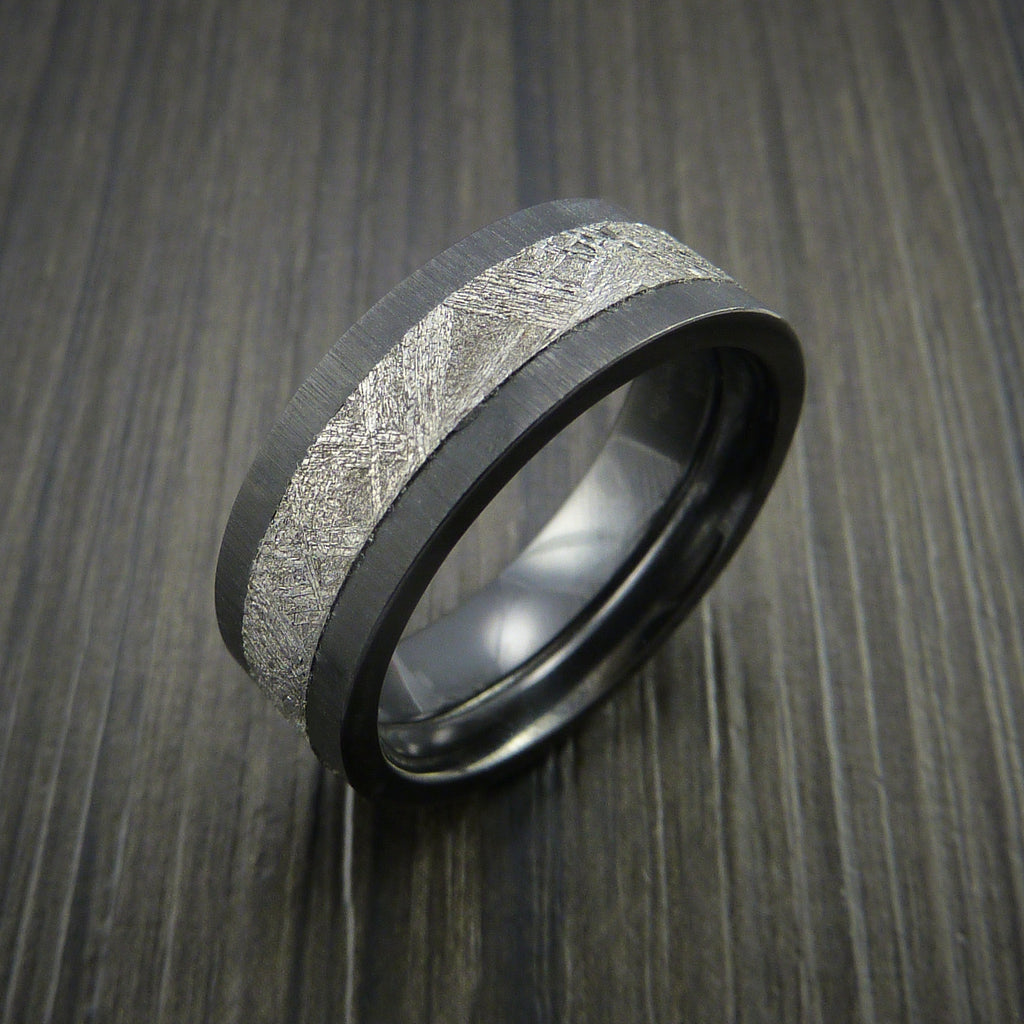 Gibeon Meteorite In Black Zirconium Wedding Band Made Revolution