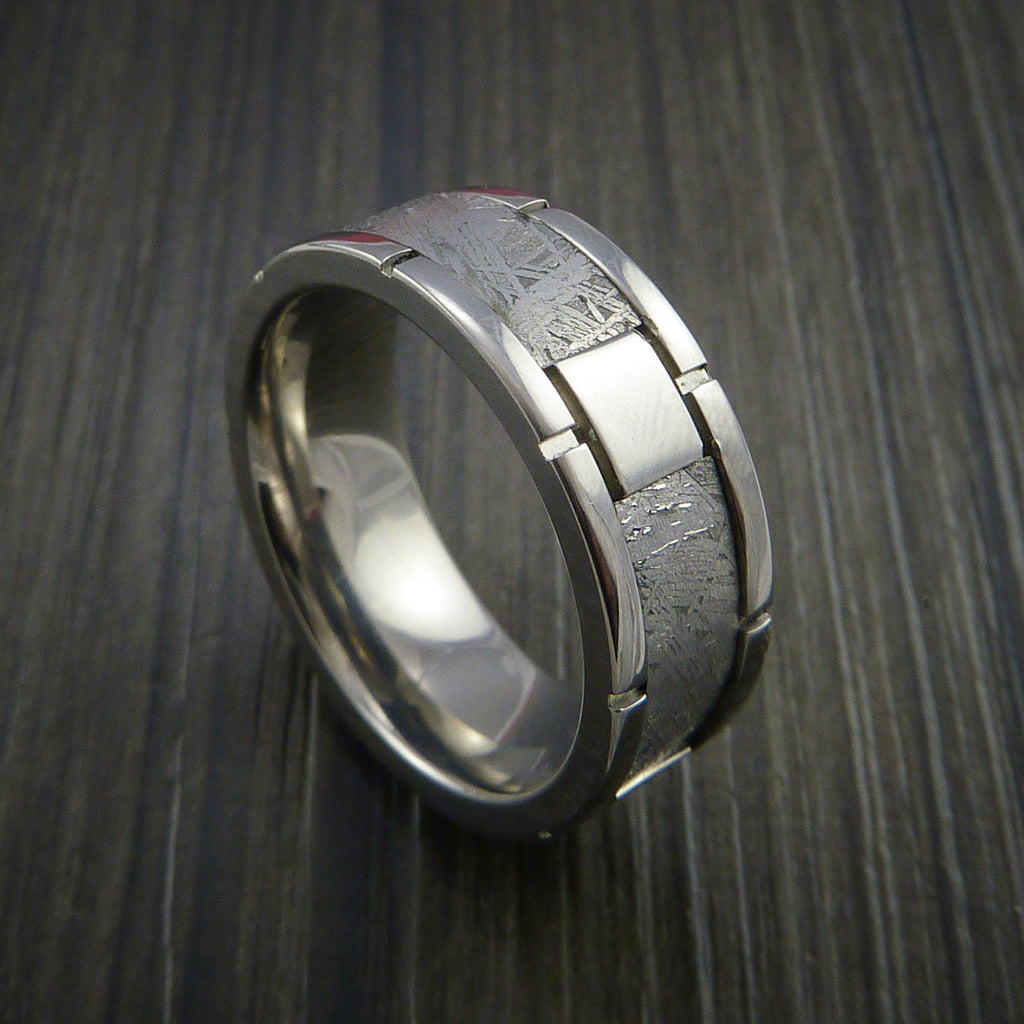 Gibeon Meteorite in Titanium Wedding Band Made to any Sizing and Width