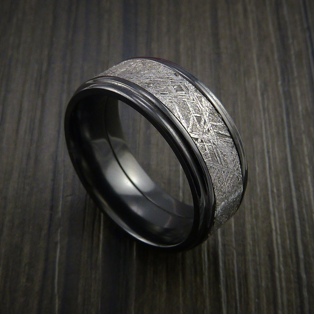 Gibeon Meteorite in Black Zirconium Wedding Band Made to any Sizing and Width - Revolution Jewelry  - 1