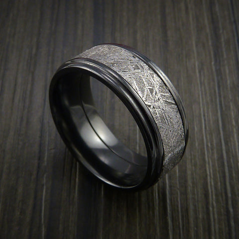 Gibeon Meteorite in Black Zirconium Wedding Band Made to any Sizing and Width