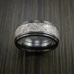 Gibeon Meteorite in Black Zirconium Wedding Band Made to any Sizing and Width - Revolution Jewelry  - 2