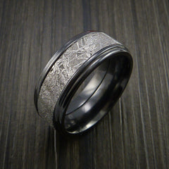 Gibeon Meteorite in Black Zirconium Wedding Band Made to any Sizing and Width - Revolution Jewelry  - 4