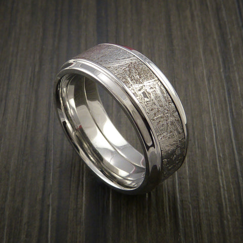 gibeon meteorite in cobalt chrome wedding band made to any sizing and width - Meteorite Wedding Rings