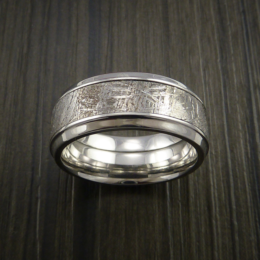 Gibeon Meteorite in Cobalt Chrome Wedding Band