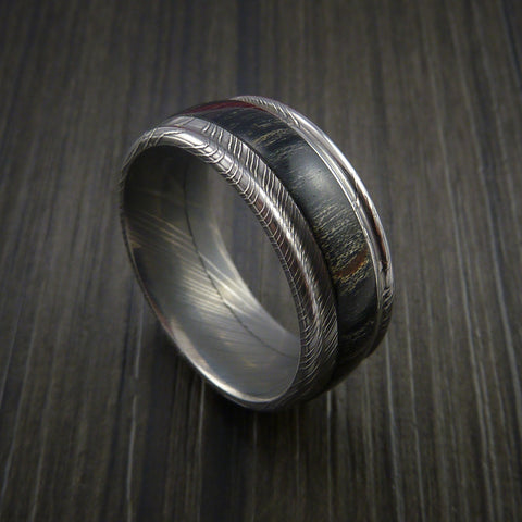 Wood Ring and DAMASCUS Ring inlaid with CHARCOAL HARD WOOD Custom Made to Any Size and Optional Wood Types
