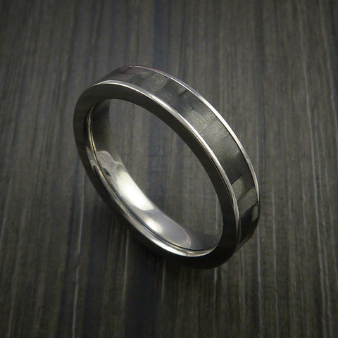 Carbon Fiber Narrow Titanium Ring Style Weave Pattern Custom Made