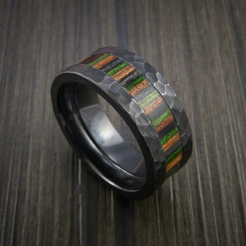 Wood Ring and BLACK ZIRCONIUM Ring inlaid with CAMOWOOD Custom Made to Any Size and Optional Wood Types