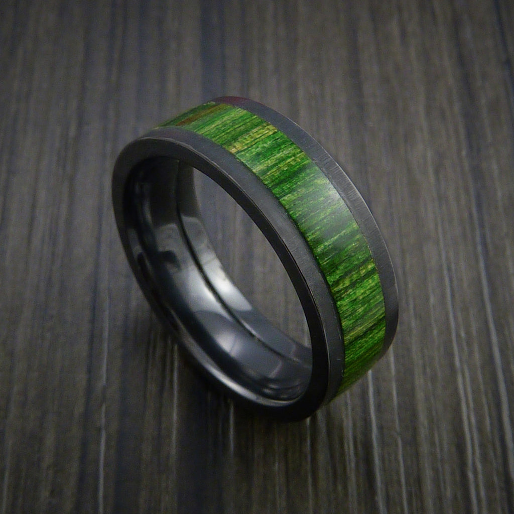 Wood Ring and Black Zirconium Ring inlaid with JADE GREEN WOOD Custom Made to Any Size and Optional Wood Types - Revolution Jewelry  - 1