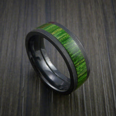Wood Ring and Black Zirconium Ring inlaid with JADE GREEN WOOD Custom Made to Any Size and Optional Wood Types
