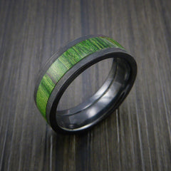 Wood Ring and Black Zirconium Ring inlaid with JADE GREEN WOOD Custom Made to Any Size and Optional Wood Types - Revolution Jewelry  - 3