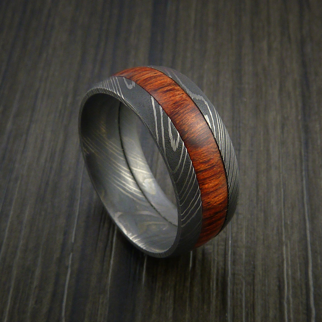 Wood Ring and DAMASCUS Ring inlaid with ROSEWOOD Custom Made to Any Size and Optional Wood Types