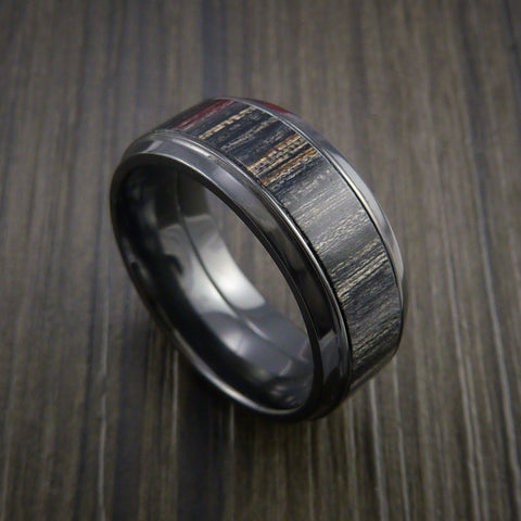 Wood Ring and BLACK ZIRCONIUM Ring inlaid with CHARCOAL WOOD Custom Made in the USA