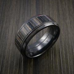 Wood Ring and BLACK ZIRCONIUM Ring inlaid with CHARCOAL WOOD Custom Made in the USA - Revolution Jewelry  - 3