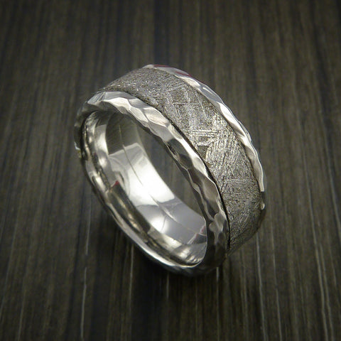 wide engagement rings meteorite wavy ring wedding gold meteor inlay edges and