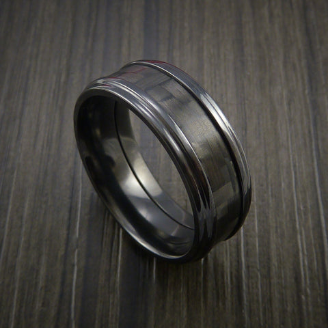 Black Zirconium and Carbon Fiber Ring Custom Made Band