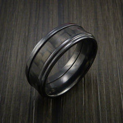 Black Zirconium and Carbon Fiber Ring Custom Made Band by Revolution Jewelry