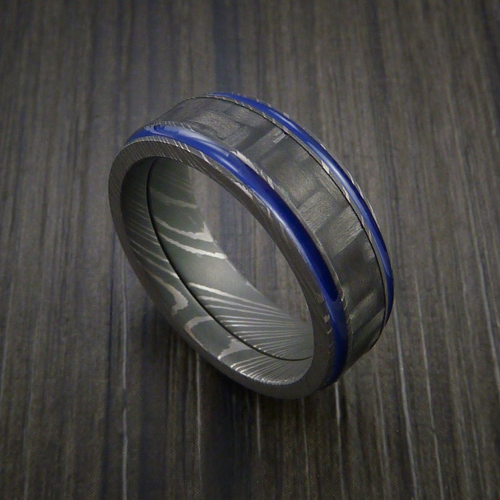 Carbon Fiber Damascus Steel Ring with Optional Color Inlay by Revolution Jewelry